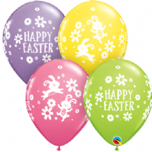 Easter Bunnies & Daisies - 11 Inch Balloons 25pcs